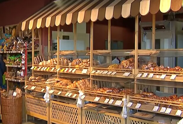 Хлебобулочные изделия в супермаркете, скриншот: YouTube