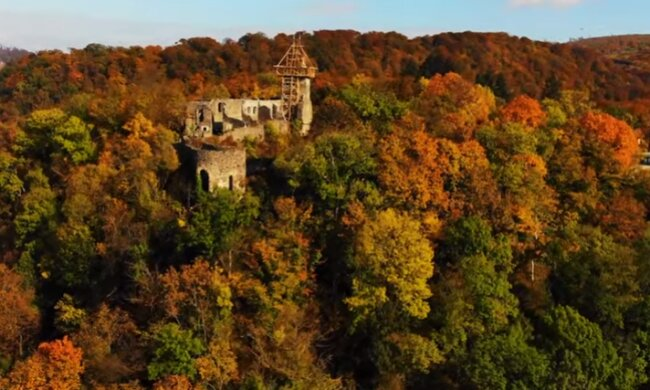 Неймовірну осінь у Невицькому замку показали з висоти пташиного польоту - казкові кадри