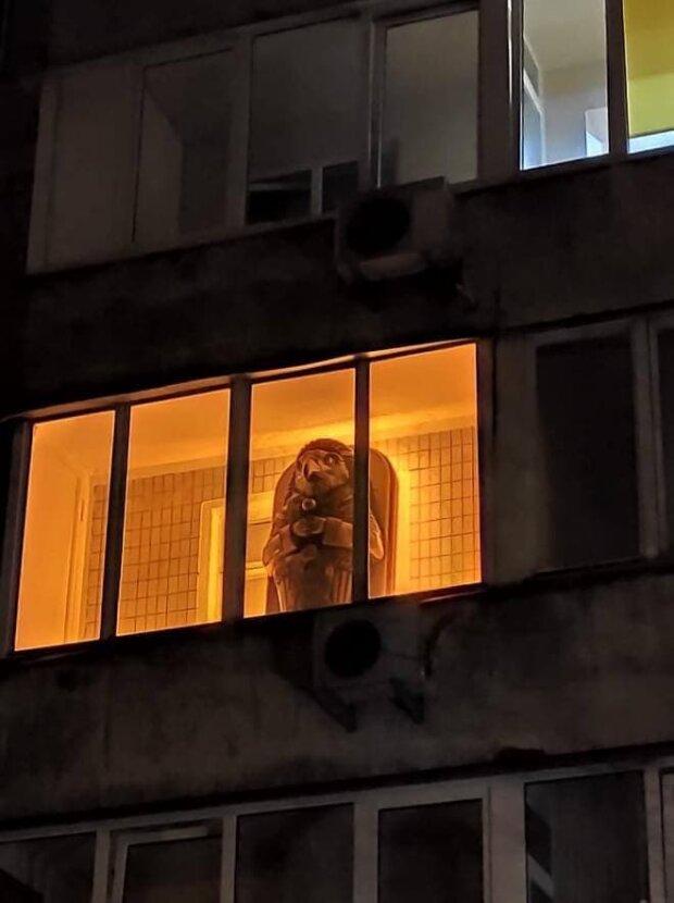 Киевлянин поселил на балконе египетского бога, скриншот Telegram