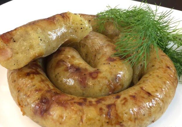 Домашняя картофельная колбаса, фото: кадр из видео
