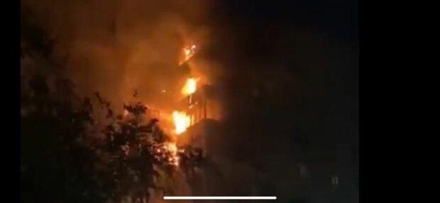 Пожар в Днепре, фото: скриншот из видео