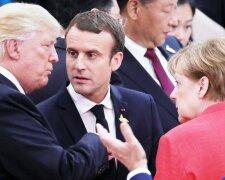 Трамп, Макрон і Меркель, фото: eurotopics.net