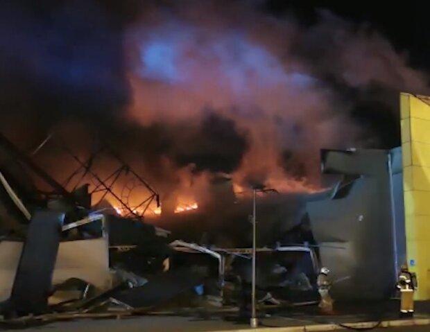 Пожар в ТЦ в Рязани, скриншот видео