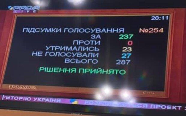розмитнення євроблях, голосування Ради, скріншот