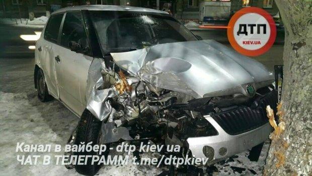 Іномарка самознищилася об дерево в Києві