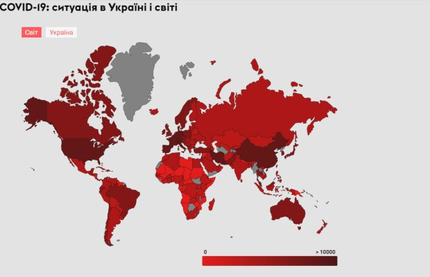 Распространения коронавируса в мире на 26.03, скриншот: my.ua/coronavirus