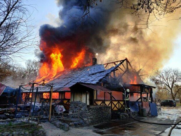Вспыхнуло, как карточный домик - в киевском Гидропарке закрытое на карантине кафе превратилось в пепел