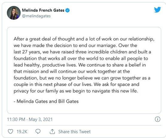 Пост у Twitter Мелінди Гейтс