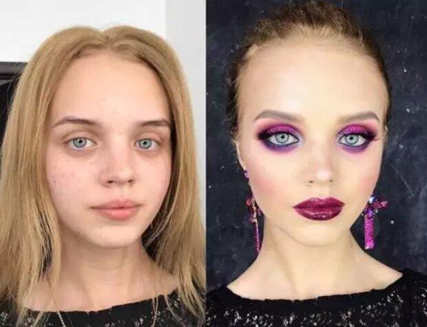 До и после макияжа, фото: instagram.com / powerofmakeup