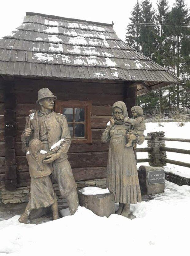 Пам'ятник заробітчанам у Колочаві, скріншот відео