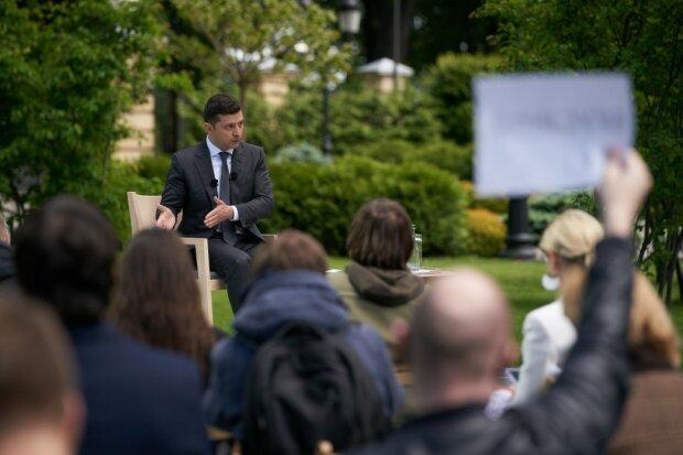 Зеленский и журналисты в ходе пресс-конференции, фото:president.gov.ua