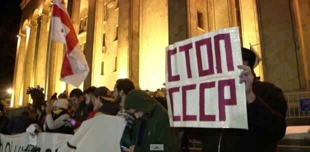 Протесты в Тбилиси, скриншот с видео Reuters