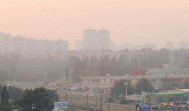 Лівий берег Києва затягнуло димом від лісової пожежі