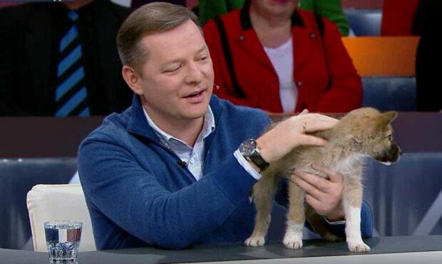 Ляшко, назло Брагару, притарабанил щенка на телевидение