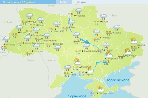Погода в Україні 7 травня, фото: Укргідрометцентр