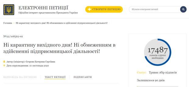 Петиція про скасування карантину вихідного дня, фото: petition.president.gov.ua