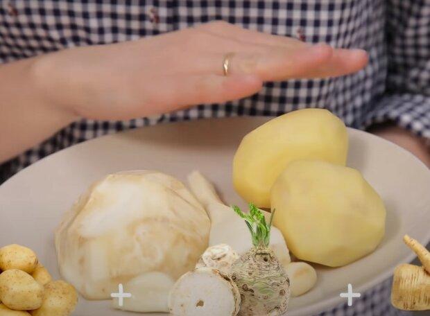 тарелка с овощами, скриншот из видео