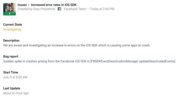 Реакция Facebook на массовый сбой, скриншот: developers.facebook.com