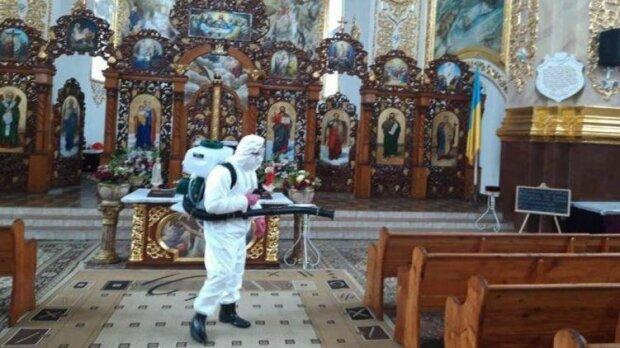 дезинфекция в церкве, фото te.20minut.ua