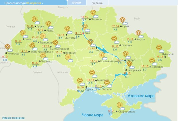 Прогноз погоди на 6 вересня, скріншот: Укргідрометцентр