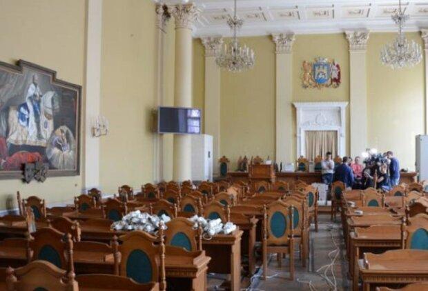 Зал заседаний Львовского городского совета, фото: Галнет