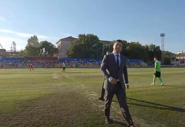 """Зеленский на стадионе """"Кривбаса"""", скриншот: YouTube"""