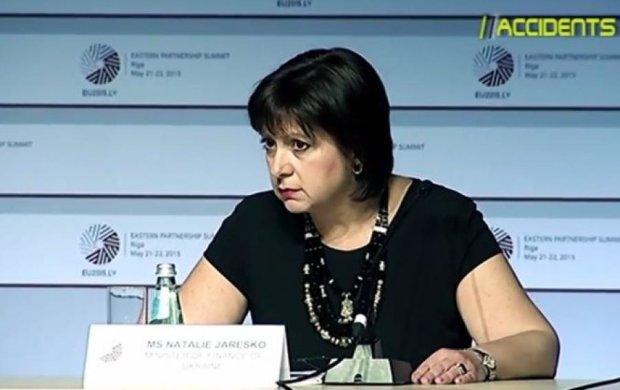 Яресько в Ризі відмовилася говорити російською