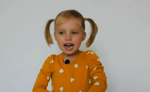 Маленька Христина навчає, як правильно говорити українською, скріншот із відео