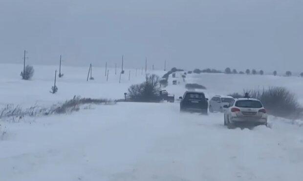 Снегопады в Украине, кадр из видео