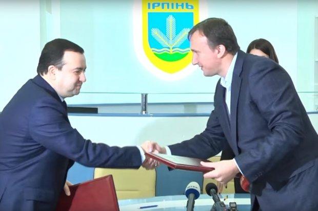 Голова ДАБІ Олексій Кудрявцев і мер Ірпеня Володимир Карплюк