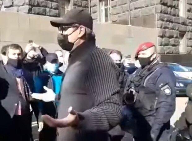 Протестуючі під Кабміном, скріншот відео