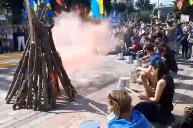 Митинг под Верховной Радой, скриншот видео