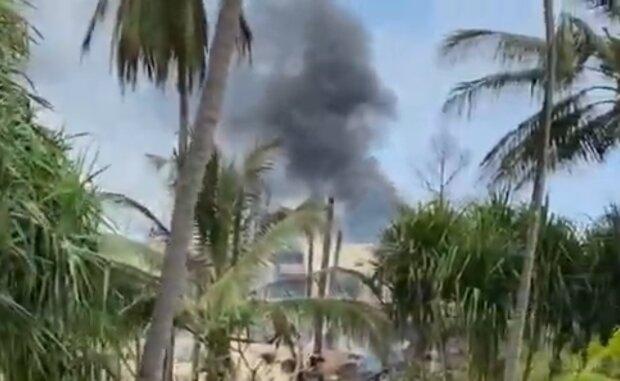 Пожар в отеле на Занзибаре, кадр из видео