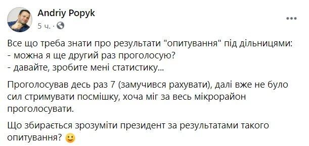 Публікація Андрія Попика: Facebook