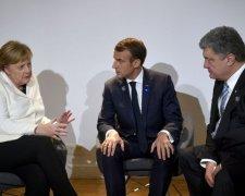 Меркель, Макрон и Порошенко