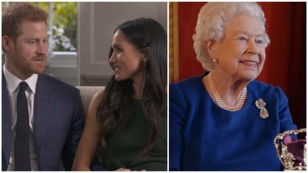 Меган Маркл, принц Гаррі і Єлизавета II, фото: скріншот з відео