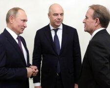 Володимир Путін, Антон Силуанов і Віктор Медведчук, джерело - 112.ua