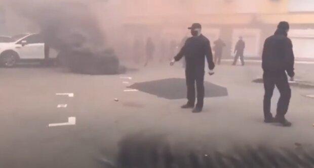 Протести біля офісу Медведчука, скріншот з відео