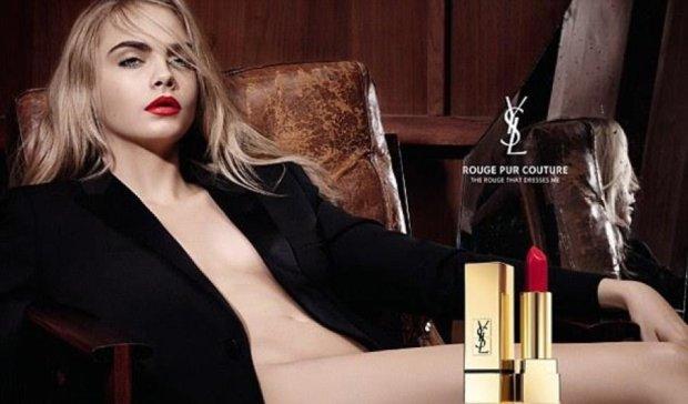 Кара Делевинь обнажилась для рекламы помады Yves Saint Laurent