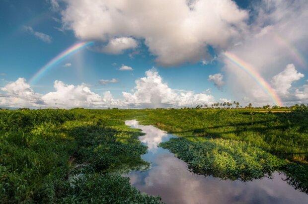 """""""Подвійна веселка над рівнинами Кароні""""» Кароні, Тринідад і Тобаго Фото: Ziad Joseph / via WMO"""