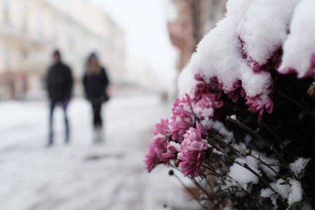 Под Киевом выпал снег: фото из другого измерения