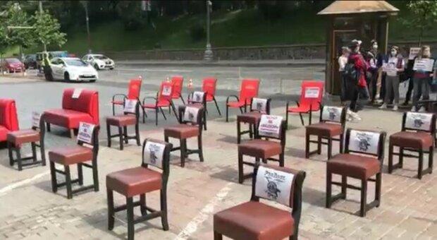 Мітинг під Кабміном, скріншот відео