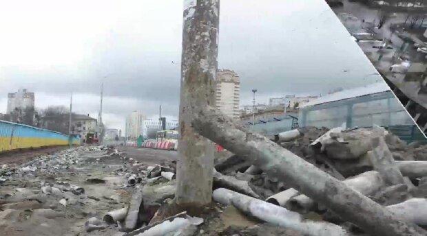 В Киеве ремонтируют Индустриальный мост, кадр из репортажа Джедаи: YouTube