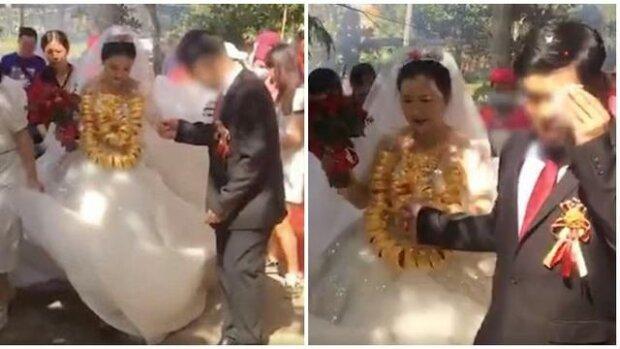 Невеста рухнула под грузом драгоценностей на богатой свадьбе