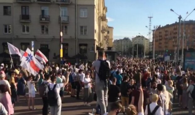 Протесты в Беларуси, скриншот: YouTube