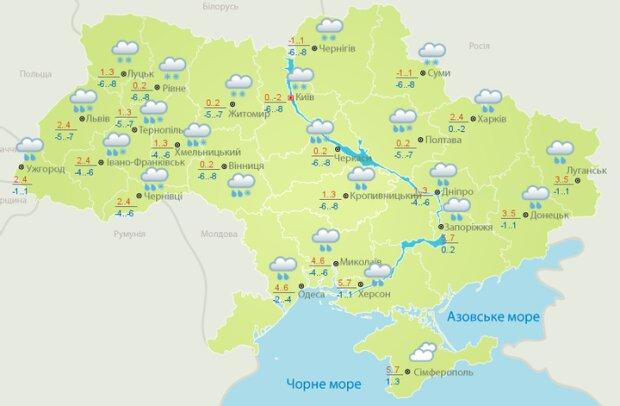 Прогноз погоди на 30 січня, карта Укргідрометцентру
