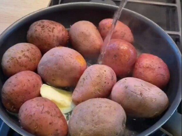 Готовим картошку на сковородке, кадр из видео
