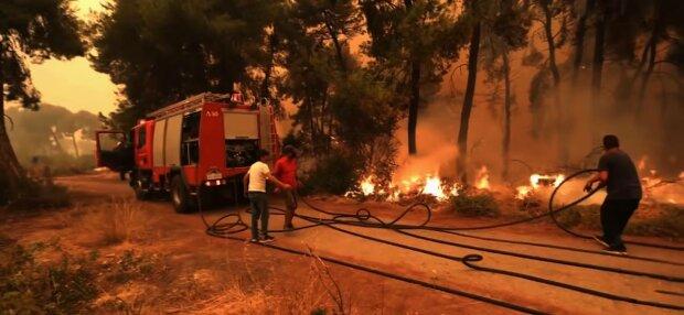 Пожежі в Греції, фото: скріншот з відео