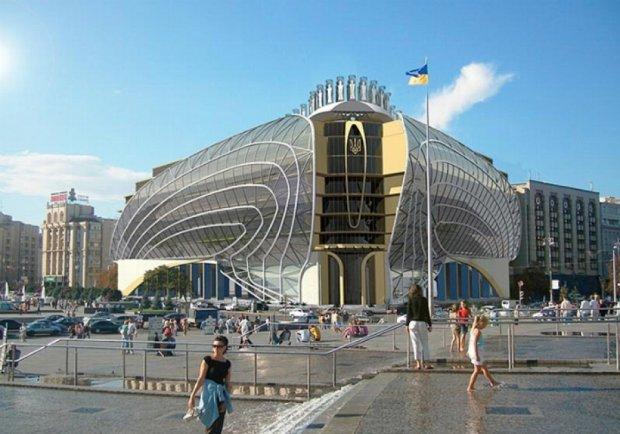 На місці будинку профспілок на Майдані пропонують звести будинок з крилами (фото)