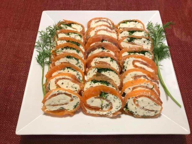 Закуска с сыром и лососем вкуснее чем суши - накрути на Новый год